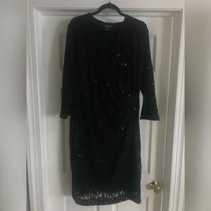 Black plus-size lace cocktail dress